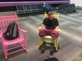 Nick and his beloved rocking chair at Miami Airport